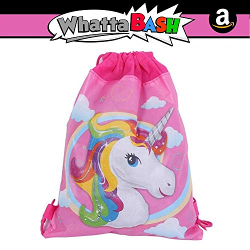 Rainbow Unicorn Non Woven Drawstring Backpack Gym Bag - Unicorn Theme Birthday Party Decorations Favors Supplies Accessories Gift for Kids Girls - Gift Decoracion De Unicornio para Cumpleaños Fiesta for $<!--$7.95-->
