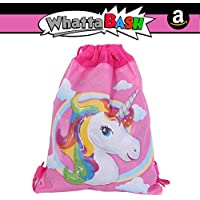 Rainbow Unicorn Non Woven Drawstring Backpack Gym Bag -...