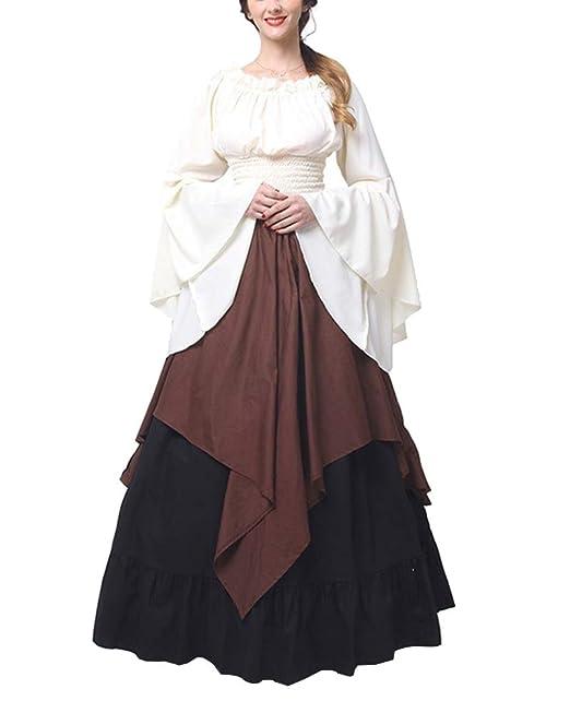 ShiFan Disfraz Trajes Medievales para Mujer Cosplay Disfraces Vestidos De Fiesta Manga Larga Y Hombros Descubiertos