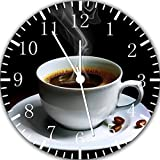 Cup of Coffee Frameless Borderless Wall Clock Y57 Nice For Gift or Room Wall Decor