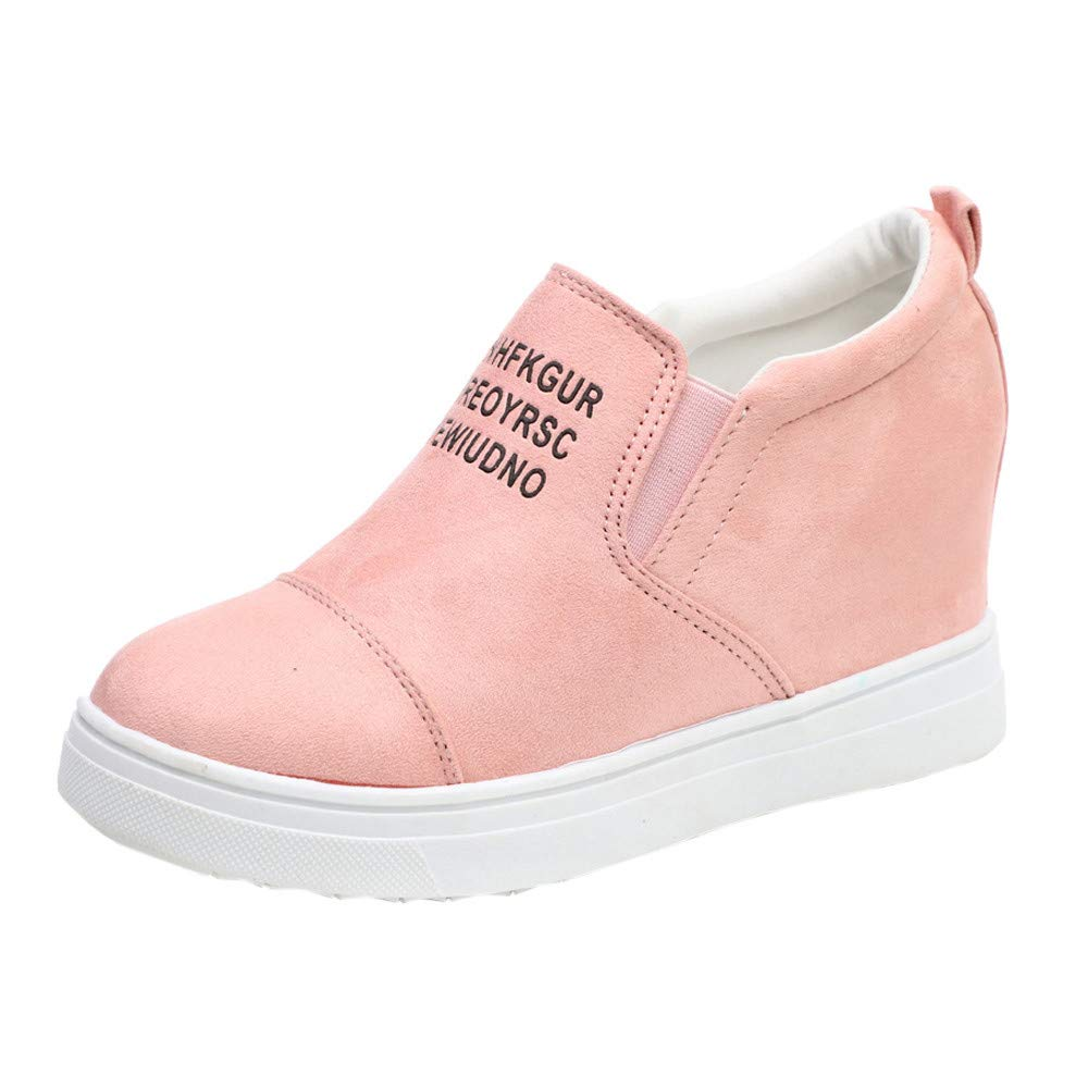 LIM&Shop ⭐ Womens Fashion Moccasins Loafer Flat Casual Letter Hidden Heel Wedge Sneakers Elevator Shoe Comfortable Suede Pink