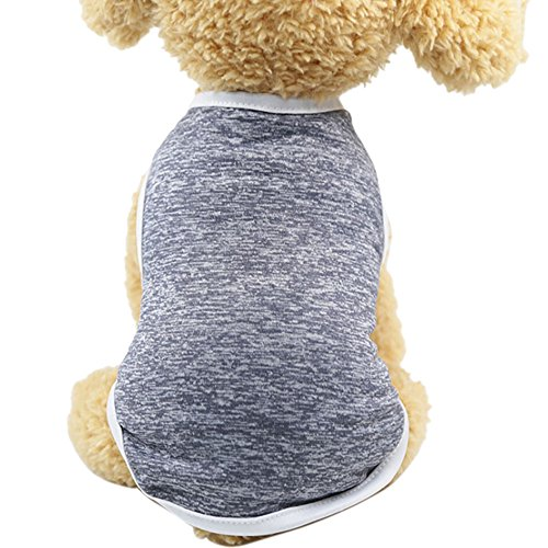 WEUIE Clearance Sale! Puppy Clothes Classic Pet Dog Vest T shirt Clothing Summer Puppy Sleeveless Clothes Apparel (S, Gray) -