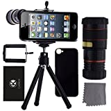 iPhone 5 Camera Lens Kit including 8x Telephoto Lens / Mini Tripod / Universal Phone Holder / Hard Case for iPhone 5 / Velvet Phone Bag / CamKix® Microfiber Cleaning Cloth (Black)