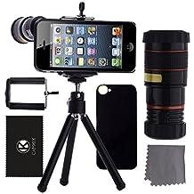 CamKix iPhone SE / 5S / 5 Camera Lens Kit - 8x Telephoto Lens / Mini Tripod / Universal Phone Holder / Hard Case