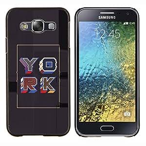 LECELL--Funda protectora / Cubierta / Piel For Samsung Galaxy E5 E500 -- Cartel gris York retro del oro de la caligrafía --