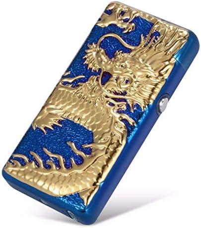 Mechero eléctrico de doble arco eléctrico USB recargable sin llama a prueba de viento con caja de regalo, Botón LED de dragón azul.: Amazon.es: Deportes y aire libre