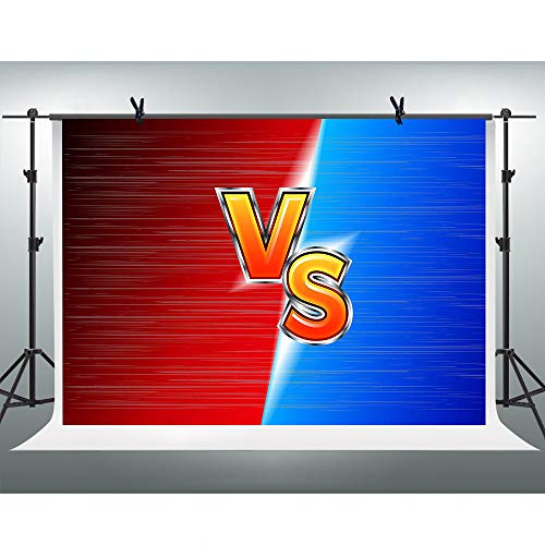 FHZON 10x7ft Red VS Blue Background Game Battle Backdrop Photography Portrait Decoration Themed Party Wallpaper Photo Booth Props HXFH168 ()