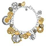 Silpada 'Perfect Composition' Natural Citrine, Pyrite, and Quartz Charm Bracelet, Silver and Brass, 8.5""