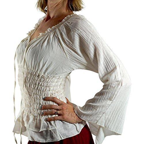 'Long Sleeve Peasant Blouse' - Womens Renaissance, Gypsy Costume, Boho - Cream by Zootzu (Image #2)