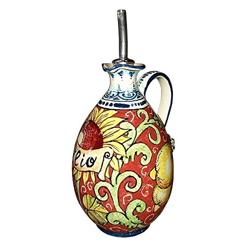 CERAMICHE D'ARTE PARRINI - Italian Ceramic Art Pottery Oil Cruet Bottle Decorated Sunflower Lemon Hand Painted Made in ITALY Tuscan