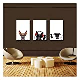 """Artrend W3115 Music Dog Wear Sunglasses Animal Star 3 Panel Contemporary Art Meaning Framed 16""""x24""""x3pcs Ready to Hang"""