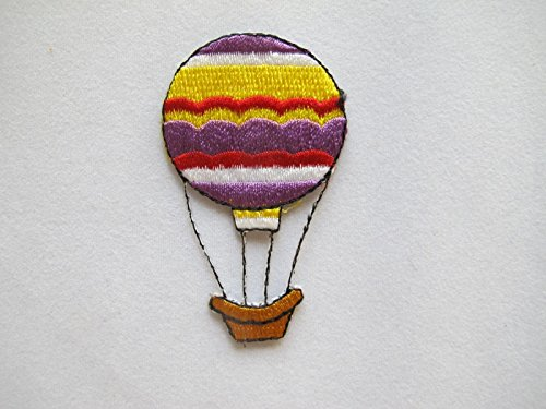 (ShopForAllYou Patches Rolling Jackets Rainbow Color Hot-Air Balloon Embroidery Iron On Applique Patch (3557))