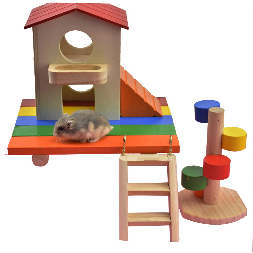 4PACK Hamster Wooden House Small Animal Hideout with Rainbow Platform Rainbow Ladder Original Wood Ladder Deluxe Two Layers Hut Chews Toys Play