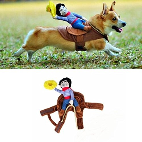 Riding Horse Dog Costume Novelty Funny Party Pet Dog Costume Large Dog Clothes Cowboy Dog Clothing S-XL (X-Large)