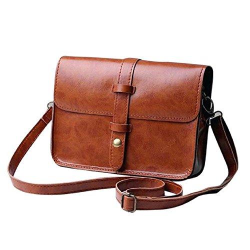 IEason Women Shoulder Bag, Women Vintage Purse Bag Leather Cross Body Shoulder Messenger Bag (Brown)