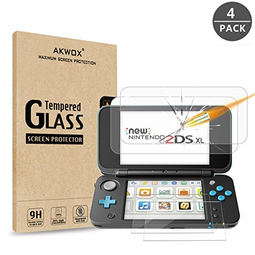 ( 2 in 1) Tempered Glass Top LCD Screen Protector + HD Clear Crystal Buttom LCD Screen Protective Filter for New Nintendo 2DS XL