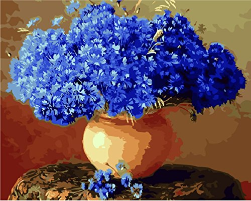 YEESAM ART New Release Paint by Number Kits for Adults Kids - Blue Flower Bouquet Vase 16x20 inch Linen Canvas without Wooden Frame (Well Done Flower Bouquet)