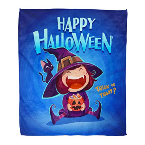 Golee Throw Blanket Happy Halloween Little Witch Girl Kid in Costume Holds Pumpkin 50x60 Inches Warm Fuzzy Soft Blanket for Bed -