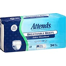 Attends Breathable Briefs with Odor Shield for Adult Incontinence Care, Medium, Unisex, 24 Count (Pack of 4)