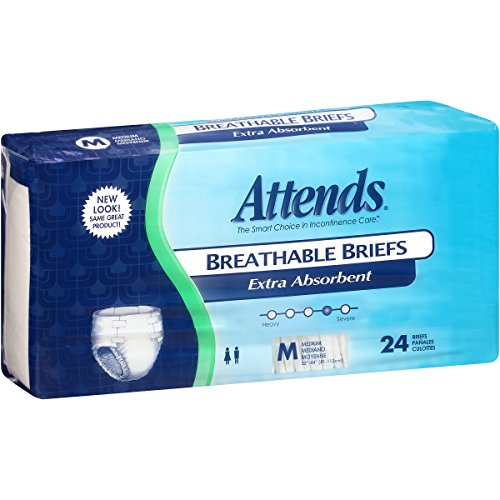 - Attends Breathable Briefs with Odor Shield for Adult Incontinence Care, Medium, Unisex, 24 Count (Pack of 4)