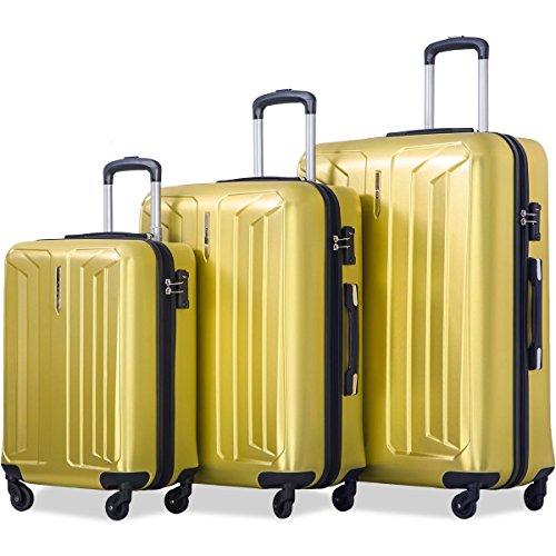 Flieks Luggage 3 Piece Sets Spinner Suitcase with TSA Lock, Lightweight 20 24 28 (Yellow)
