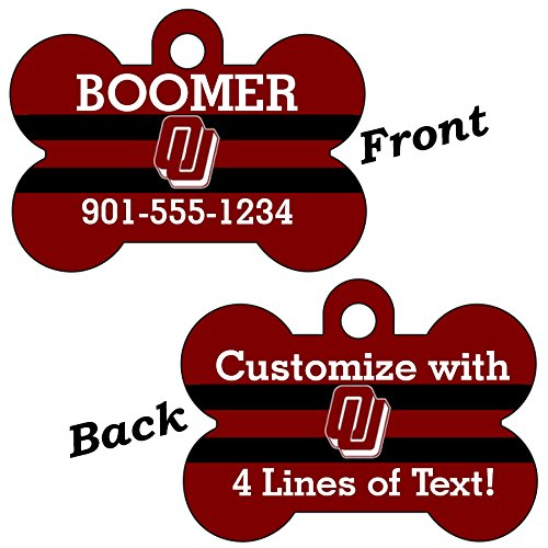 uDesignUSA Oklahoma Sooners Double Sided Pet Id Dog Tag Personalized with 4 Lines of Text
