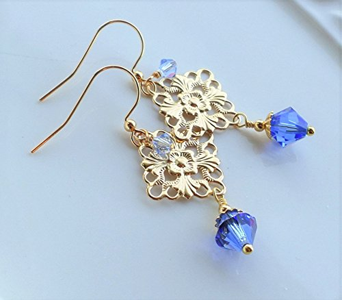 Sapphire Blue Crystal Gold Filigree Drop Earrings (Sapphire Drop Gold)