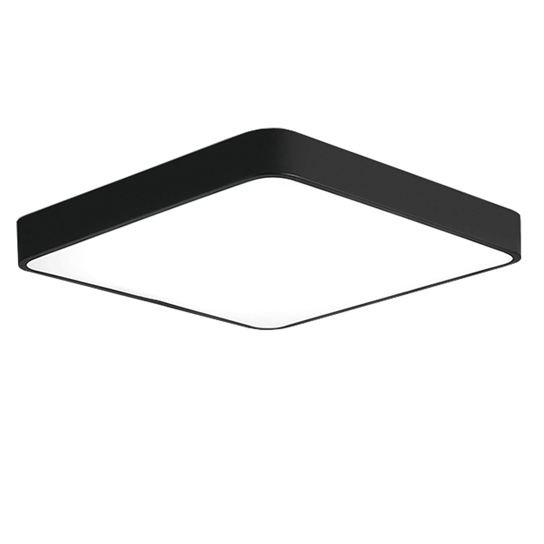 Ganeed LED Ceiling Light Flush Mount,18W 12-Inch Modern Ceiling Lamp Fixture Square,6500K Cool White Energy Saving Lighting Fixture for Living Bathroom Dining Room,Black