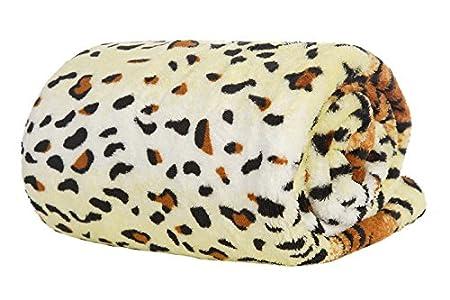 Beige Double Size Deluxe Fleece Blanket Soft Luxury Warm Home Sofa Bed Throw