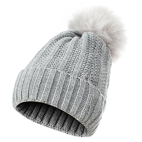 2a7252e29aa GLOUE Women s Winter Beanie Warm Fleece Lining - Thick Slouchy Cable Knit  Skull Hat Ski Cap