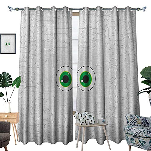 (Warm Family Trippy Window Curtain Fabric High-Tech Hardware Circuit Board Backdrop with Eye Forms Digital Picture Drapes for Living Room W96 x L108 Pearl Black Jade Green)