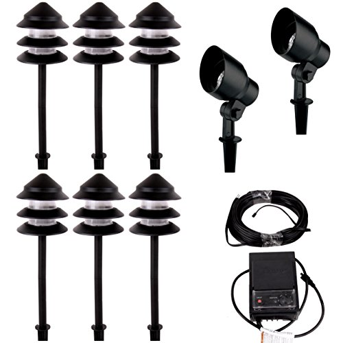 Malibu Starlight 8 Pack Light Kit Low Voltage Landscape Lighting Outdoor Spotlight Pathway Lights Waterproof for Driveway, Yard, Lawn, Flood, Garden, Outdoor Lighting 8301-9907-08