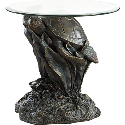 (Powell Sheldon Glass Top Accent End Table)