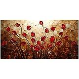 H.COZY Art - in erba Fiori 100% dipinti a mano quadri moderni su tela parete floreale olio su tela per la decorazione domestica FT190 (Senza telaio)