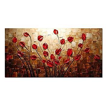 H.COZY Art - in erba Fiori 100% dipinti a mano quadri moderni su ...