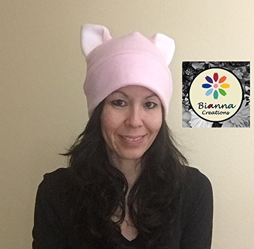 Handmade Baby Pink Pussyhat White ears Kawaii Fleece Pussy-hat Pussy-cat Pussycat Cat Hat Cosplay Anime Manga Womens March Movement General Strike Hat, Custom Order for Small Large XL Size