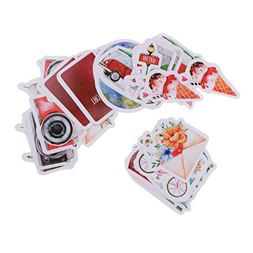 (MagiDeal 46 Pcs/lot Fashion Stamp Sticker Traveling Alone Theme Decoration Decal Seal Packaging Label DIY Diary Album Scrapbooking Envelopes Sealing Sticker Stationery)