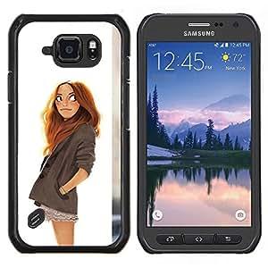 LECELL--Funda protectora / Cubierta / Piel For Samsung Galaxy S6Active Active G890A -- Gráfico de la muchacha blanca niños pelirroja inteligente --