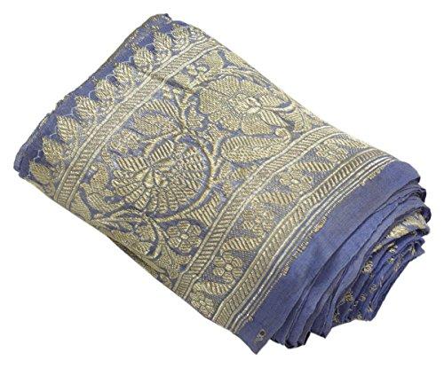 Antique Vintage Woven Zari Brocade Banarasi Saree Border Indian Craft Trim Gray