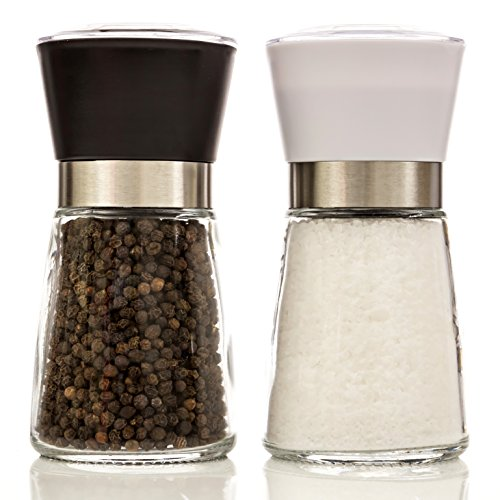- Grinder Jar Set with Ceramic Mechanism – Glass Body Salt and Pepper Shaker / Mill – Grind Spices Easily, NO Mess (Capacity of each: 180ml)