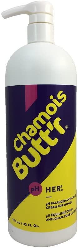 Chamois Butt'r Her' Anti-Chafe Cream, 32 oz Bottle with Pump