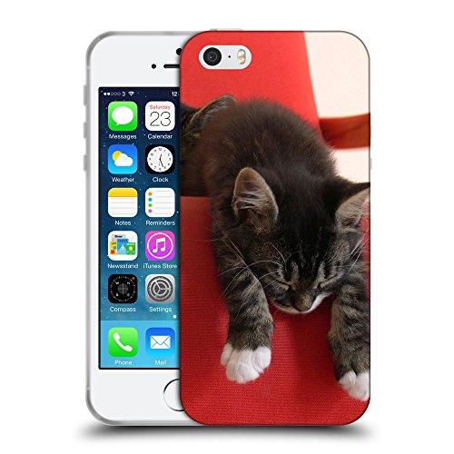Just Phone Cases Coque de Protection TPU Silicone Case pour // V00004317 Chatons accoudés sur le canapé rouge // Apple iPhone 5 5S 5G SE