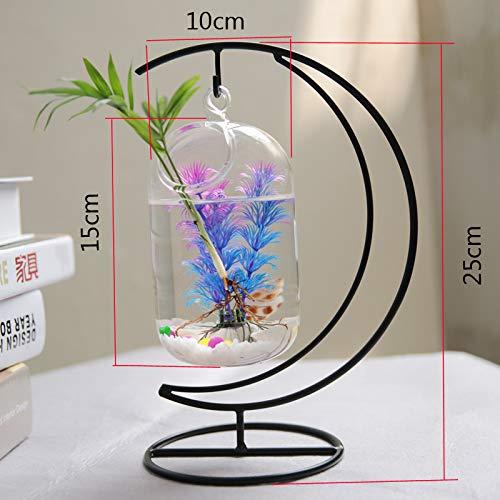 F.yiool Creative Hang Terrarium Container Hydroponics Planter Flower Glass Vase Fish Tank Goldfish Bowl Home Table DIY Decoratin 15cm ()