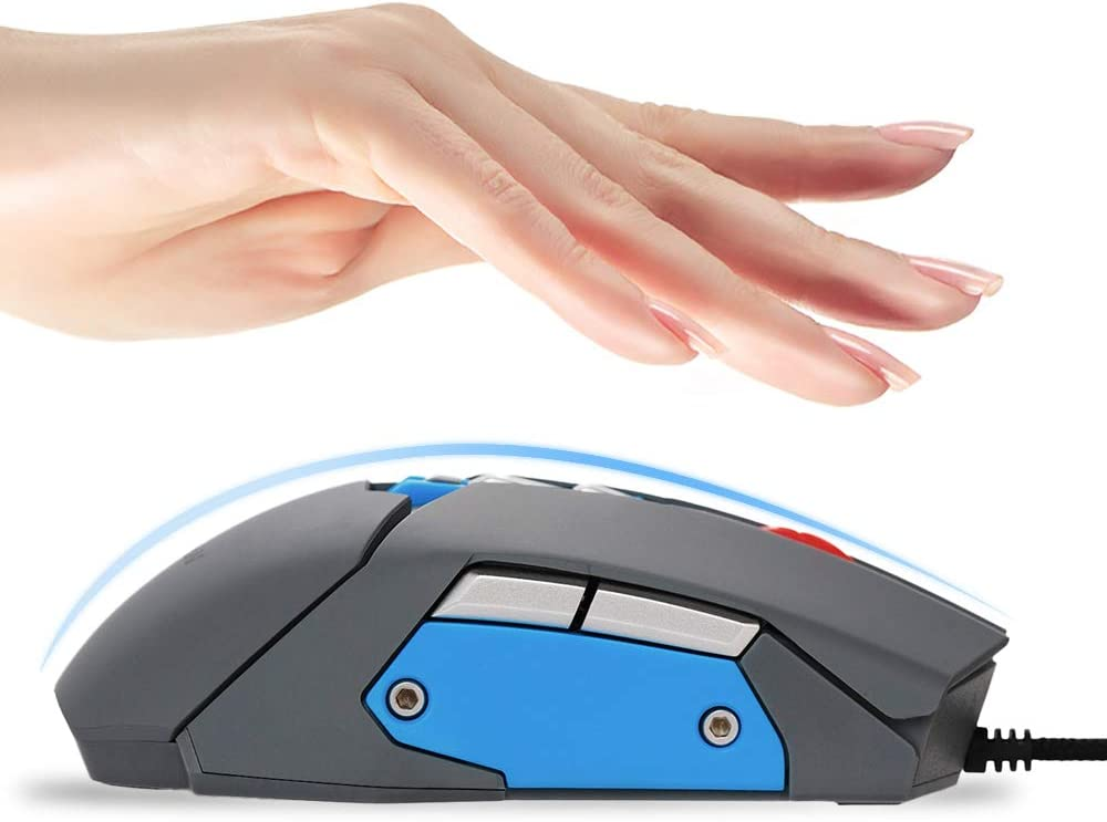 6 in 1 USB Wired Computer Mouse with 3 Adjustable DPI Levels 9 Buttons,Including Game Mouse,16Gb Memory Disk,Mini-Speaker,Microphone,Temperature and Humidity. Gray VideoPUP Multifunctional Mouse