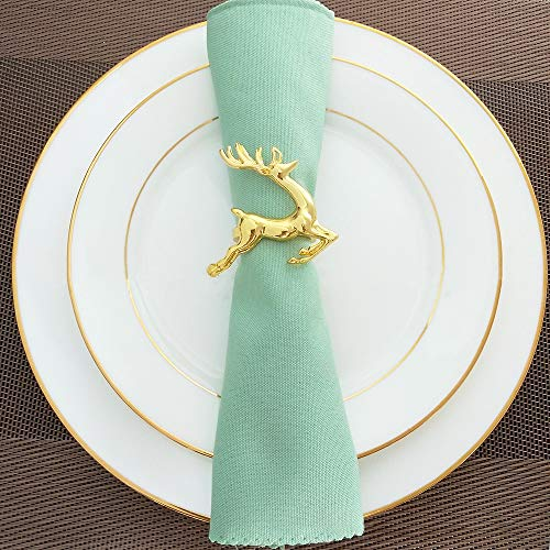 KissDate Napkin Rings, 6Pcs Gold Elk Chic Napkin Rings for Place Settings, Wedding Receptions, Christmas, Thanksgiving and Home Kitchen Dining Table Linen Accessories by KissDate (Image #4)