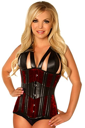 Daisy Corsets Women's Top Drawer Velvet and Faux Leather Steel Boned Corset, Red, 2X