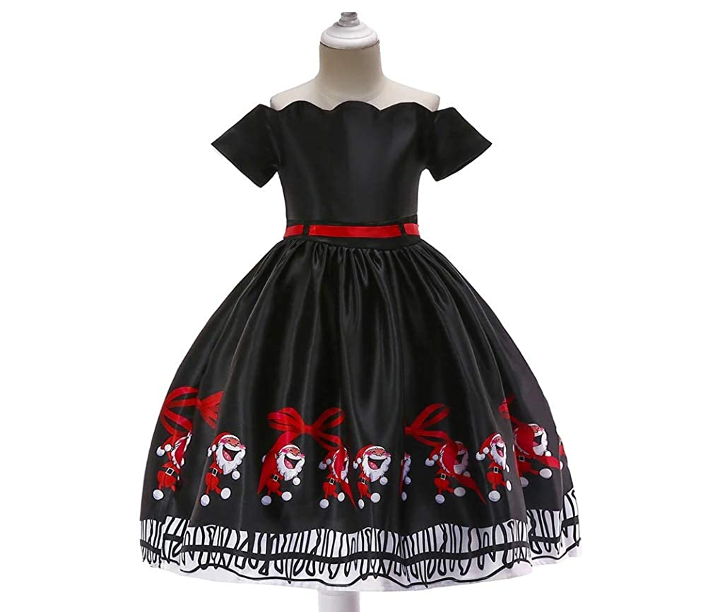 Stesti Christmas Dresses for Girls Clothing Party Kids Santa Claus Black Christmas Costumes for Toddler Girls