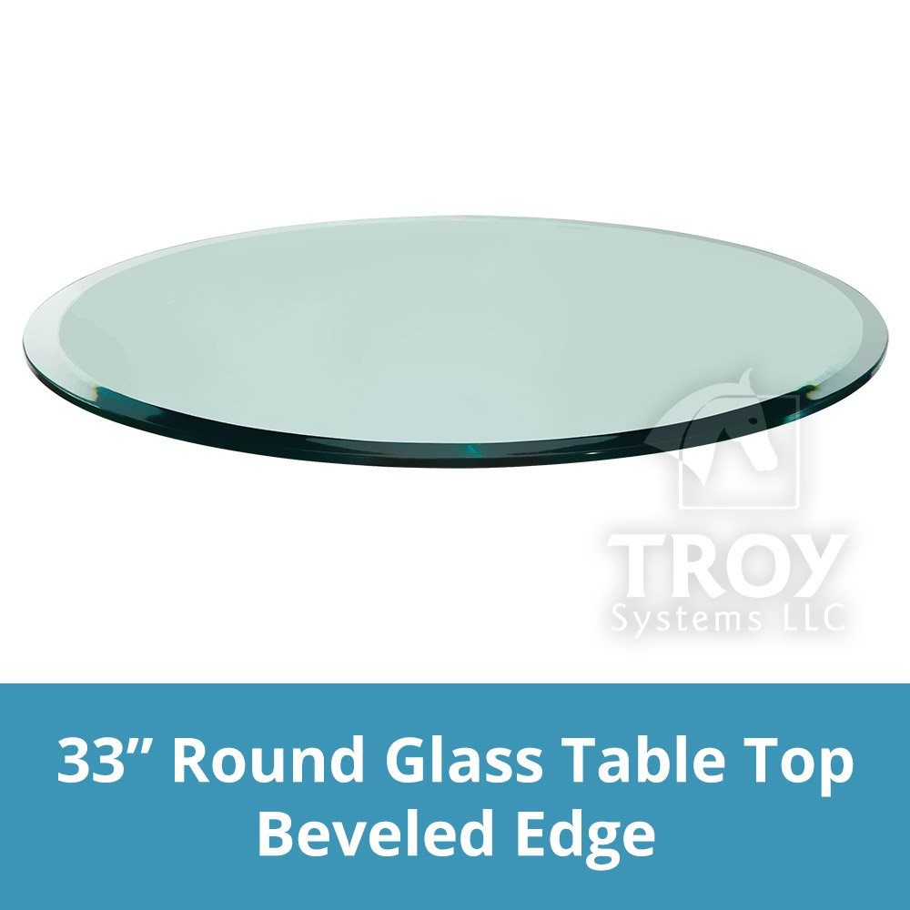 TroySys Round Glass Table Top, 1/2'' Thick, Beveled Edge, Annealed Glass, 33'' L