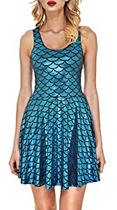 48. Jescakoo Women's Shiny Mermaid Sleeveless Short Dress