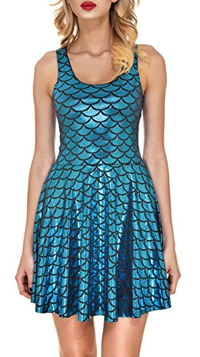 Mermaid Scale Summer Tank Dress Sleeveless Pleated
